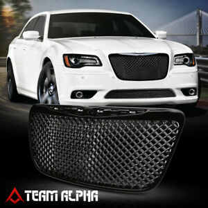 Fits 2011 2014 Chrysler 300 300c 3d Wave Mesh Glossy Black Bumper Grille Grill