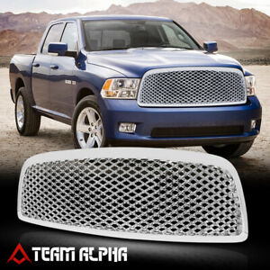 Fits 2009 2012 Dodge Ram 1500 3d Wave Mesh Glossy Chrome Abs Bumper Grille Grill