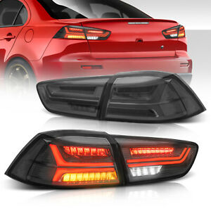 2x Smoked Led Tail Lights Rear Lamps For 08 17 Mitsubishi Lancer Evo Lh rh Side