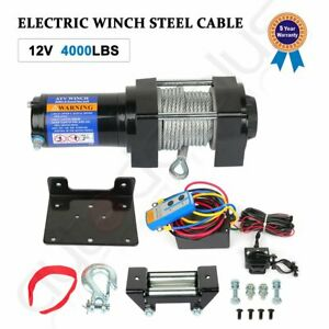 12v 4000lbs Electric Winch Towing Trailer Steel Cable Off Road W Wireless Remote