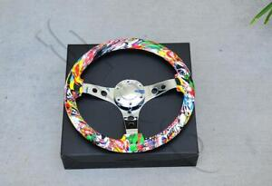 350mm 14 Dia White Skull Graffiti Wood Mirror Chrome S s Spoke Steering Wheel