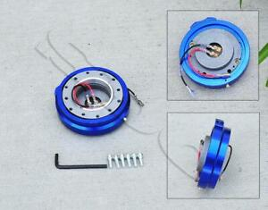 Universal Racing Thin Short Slim Steering Wheel Quick Release Blue Adapter Kit
