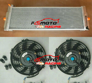 Universal Aluminum Heat Exchanger Air To Water Intercooler Radiator Fans Cap