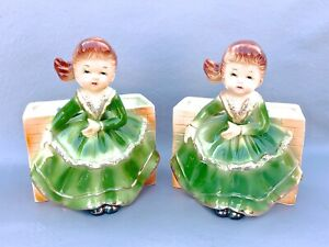 vintage GRANT CREST Japan Wall Pocket girl in dress set of 2