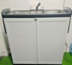 L a Qualified Hot Water Portable 3 Compartment Concession Sink W drainboards