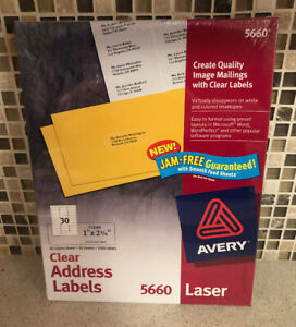 Avery 5660 Clear Easy Peel Laser Labels 1 X 2 5 8 1500 Labels X 4 6000 Total