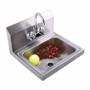 Commercial Stainless Steel Hand Wash Sink Wall Mount Nsf Kitchen With Faucet