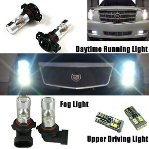 For Cadillac Escalade 2007 14 8x White Led Fog Driving Drl Light Bulbs Combo Us