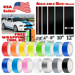 Gloss Color Racing Stripes Vinyl Wrap For Ford Mustang Stripe Sticker 10ft 20ft