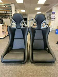 2 Seats For Porsche 997 Style Gt3 Pair Seats Black Pu Leather Fiberglass Shell