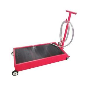 Portable 20 Gallon Oil Drain Pan Low Profile Dolly W Pump 8 Hose Car Truck New