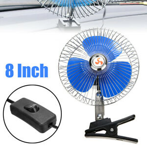 1x 8inch 12v Portable Vehicle Car Oscillating Fan Truck Clip On Cooling Fan Us