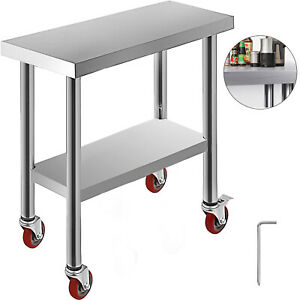 30 x12 Kitchen Work Table With Wheels Commercial Food Prep Stainless Steel