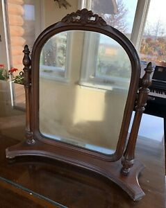 Vintage French Style Carved Wood Dresser Top Shaving Vanity Swivel Mirror