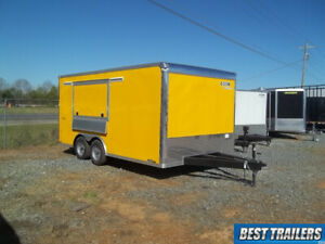 8 X 16 Enclosed Concession Trailer Vending Cargo Yellow Window W Sinks Finished