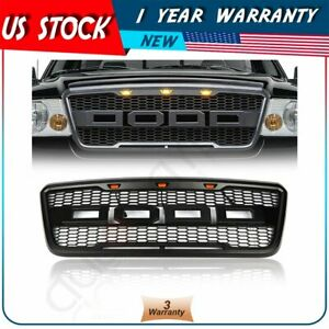 Black Front Hood Grille W Led For 2004 2008 Ford F150 Raptor Style