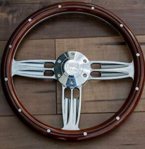 14 Inch Polished Wood Steering Wheel With Billet Horn 6 Hole Chevy C10