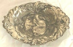 Antique Sterling Small Bowl Flowers Ornate