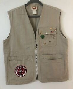 Coca Cola Olympics 1996 Pin Center Canvas Vest Small