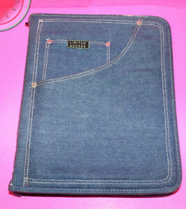Vintage Denim Binder Folder Limited Access Three Ring Planner Zipper Blue Jean