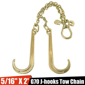 5 16 X 2 G70 Tow Chain J Hooks V Chain Flatbed Truck Rollback Wrecker Carrier