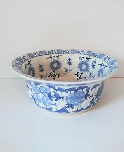 Vintage Large Chinese Blue White Porcelain Bowl Floral Leaf Pattern Marked