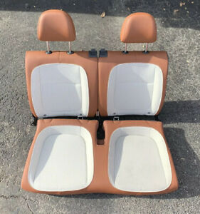 2012 2018 Volkswagen Beetle Front Rear Brown Leather White Cloth 4 Seat Set