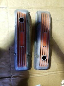 Vintage Finned Cal Custom Staggered Valve Covers Sbc 283 327