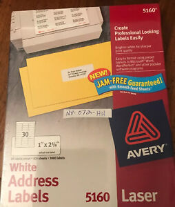 3000 Avery 5160 Address Mailing Shipping Labels 1 X 2 5 8 100 Sheets Sealed