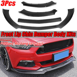 3x Carbon Fiber Look Front Bumper Lip Chin Spoiler Wing For Ford Mustang 2015 17