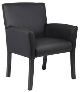 Black Executive Leather Box Guest Visitor Arm Chair Armchair Chairs Office Mid