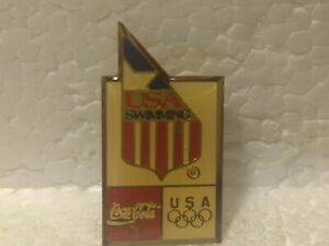 Coca Cola Olympics USA Swimming Emblem Collectible Pin pin3558