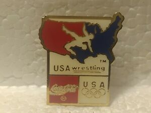 Coca Cola Olympics USA Wrestling Emblem Collectible Pin pin3561