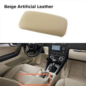 Beige Leather Armrest Front Center Console Lid Cover Fit For Audi A3 2006 2014