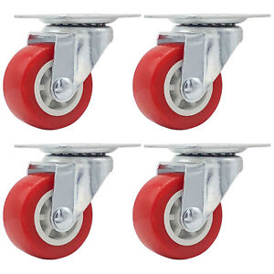 Lot Of 4 1 5 Low Profile Caster Wheels Soft Rubber Swivel Caster Red