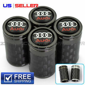 Valve Stem Caps Wheel Tire For Audi Carbon Fiber 4pc 2 Color Option Vc03 Vc26