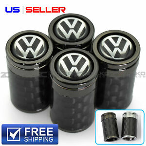 Valve Stem Caps Wheel Tire For Vw Volkswagen 4 Pc 2 Carbon Fiber Us Seller