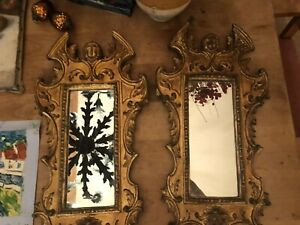 Vintage French Carved Gilt Wood Mirrors Pair