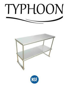 18 X 96 Commercial Kitchen Over Shelf 2 Layer Stainless Steel Rounded Corner