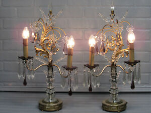 Antique Pair Hollywood Regency Table Lamps Crystal Art Deco Lamps Restored 21 T