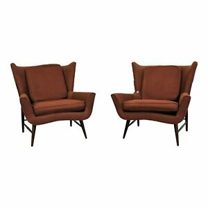 Pair Of Mid Century Danish Modern Wingback Lounge Chairs