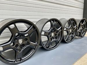 19 Porsche Gloss Black 911 997 Oem Factory Set Rims Wheels Carrera Lobster Claw