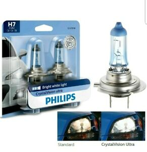 Philips Crystal Vision Ultra H7 55w Two Bulbs Head Light Low Beam Replacement Oe