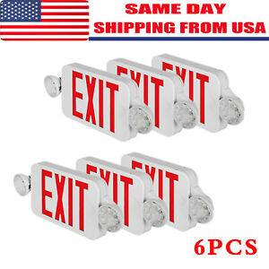 2 4 6 Pack Emergency Lights Red Exit Sign W dual Led Lamp Abs Led Supermarkets
