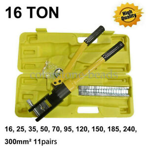16 Ton 18 5 Hydraulic Wire Terminal Crimper Crimping Tool Pliers Set W 11 Dies