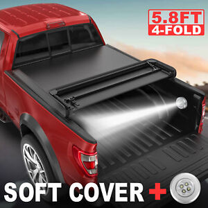 Truck Tonneau Cover 5 8ft Bed 4 fold For Gmc Sierra Chevrolet Silverado 1500