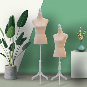 Female Mannequin Torso Dress Form Display W White Tripod Stand New