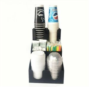 Cup Lid Dispenser Organizer Coffee Condiment Holder Caddy Coffee Cup 6 Rack Eo