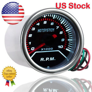 Hotsystem Car 2 52mm Tachometer Tacho Gauge White Digital Led 0 10000 Rpm 12v