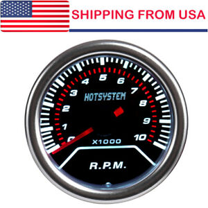 Hotsystem Car 2 52mm Tachometer Tacho Gauge White Digital Led 10000 Rpm 12volt